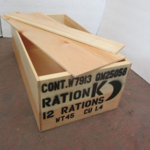 REPRODUCTION WOODEN CRATE K RATION LATE WAR