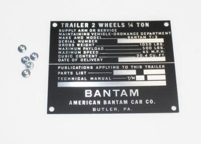DATA PLATE  BANTAM T3